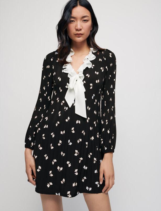 Maje Bow print pleated dress