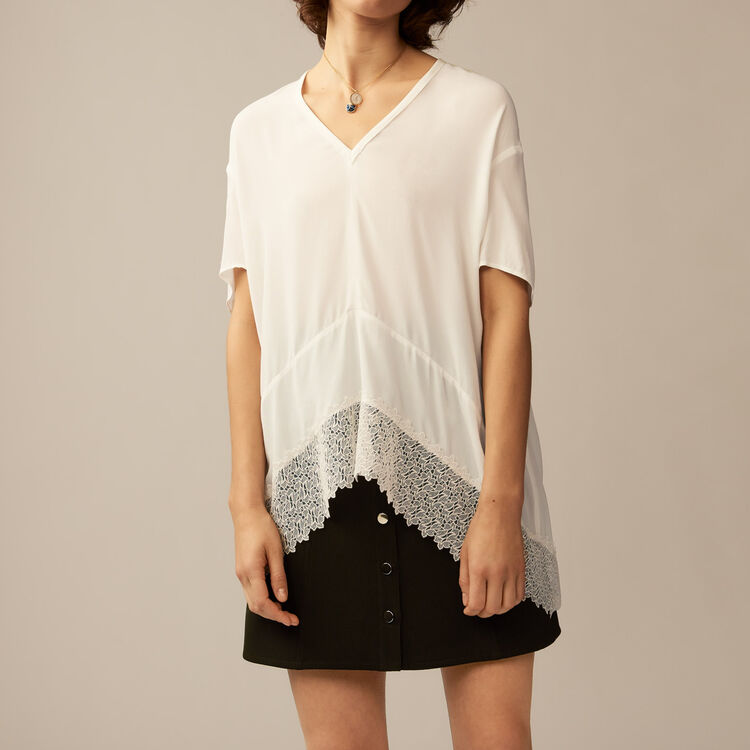 Oversized top with guipure lace : Tops & Shirts color Ecru