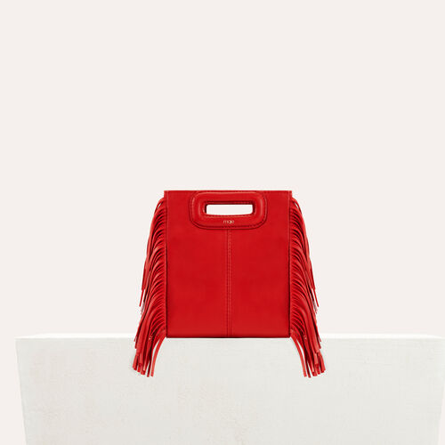 Fringed leather M minibag : M Mini color RED
