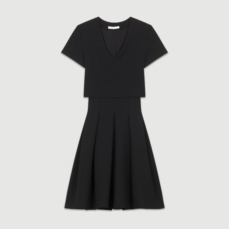 Rounded hem trompe l'oeil dress : Dresses color Black 210