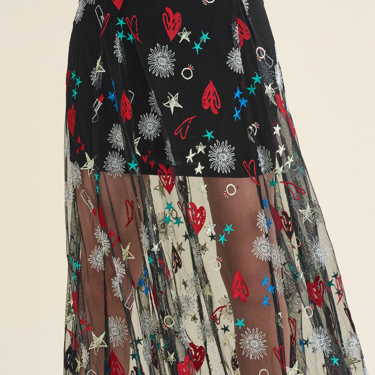 Long dress with all-over embroidery : Dresses color Jacquard