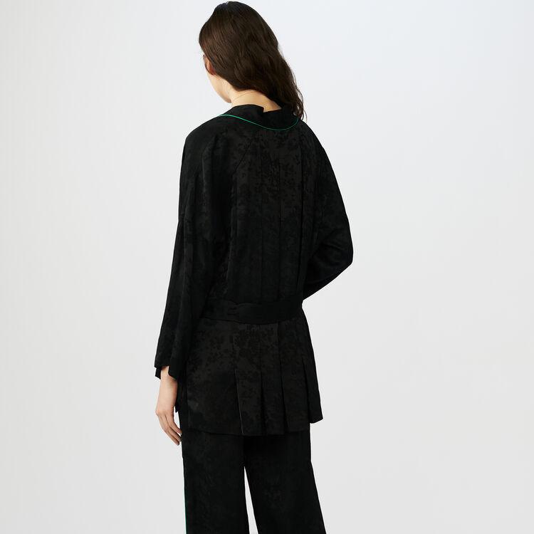 Kimono-style jacquard jacket : Coats & Jackets color Black 210