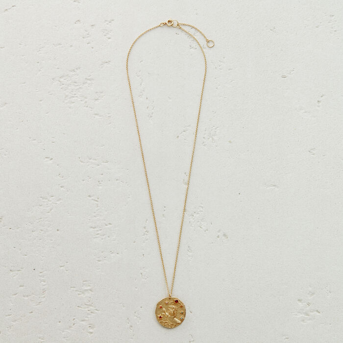Lion zodiac sign necklace : Jewelry color GOLD