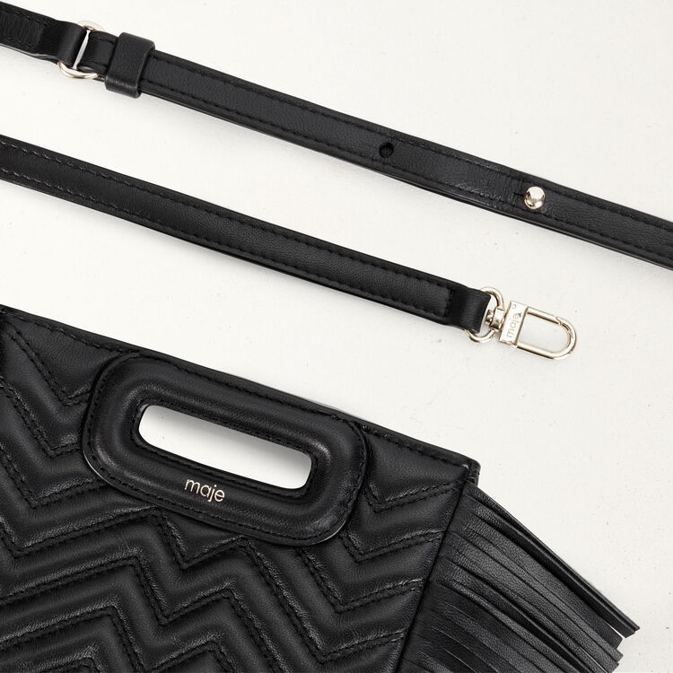 Quilted mini M bag with leather fringe : Spring Collection color Black 210