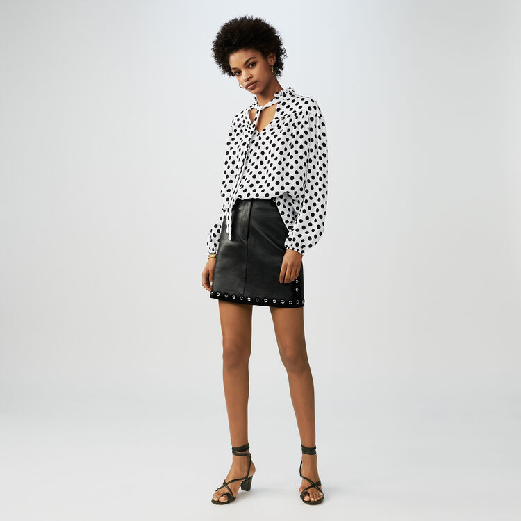 Printed polka dot top : Tops & Shirts color Two-Tone