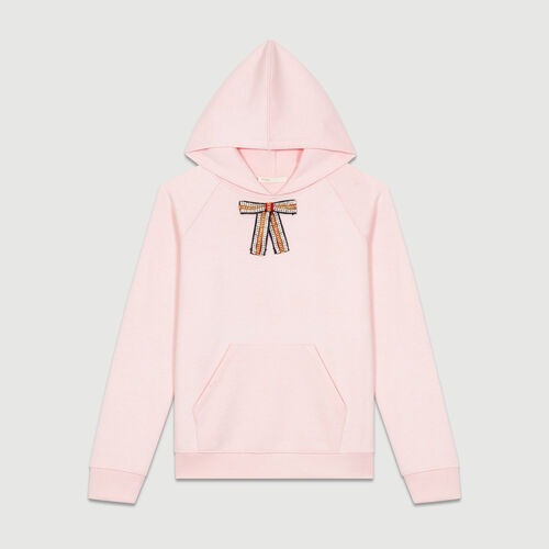 Hooded sweatshirt with removable bow : Tops & T-Shirts color Pale Pink