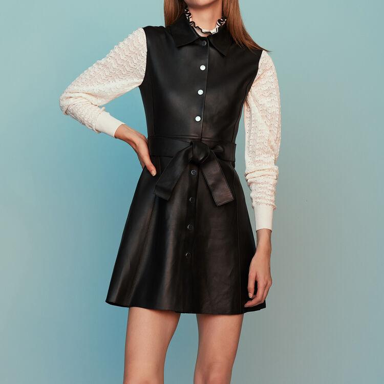 Sleeveless leather shirt dress : Dresses color Black 210