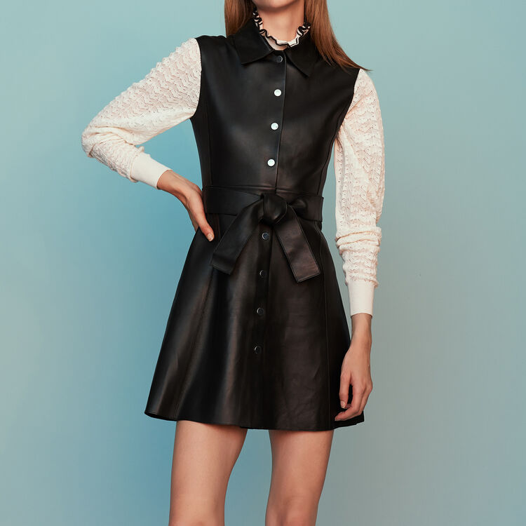 Dresses true Sleeveless leather shirt dress   Dresses color Black 210 1deebe089543