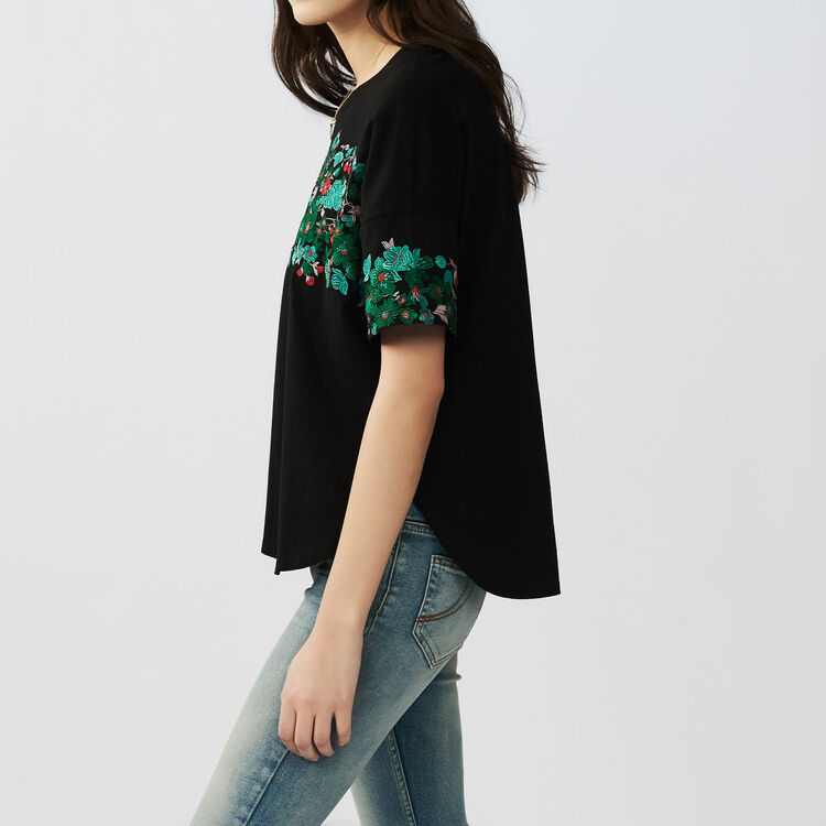 Oversized embroidered cotton t-shirt : Tops & T-Shirts color Black 210