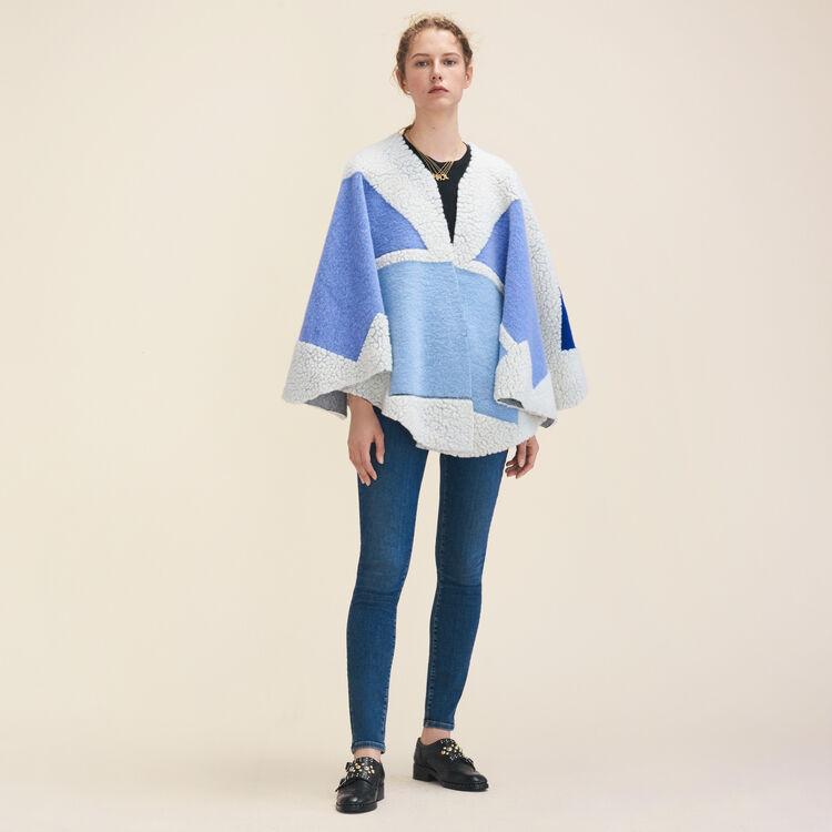 Multicoloured poncho : Scarves color Blue