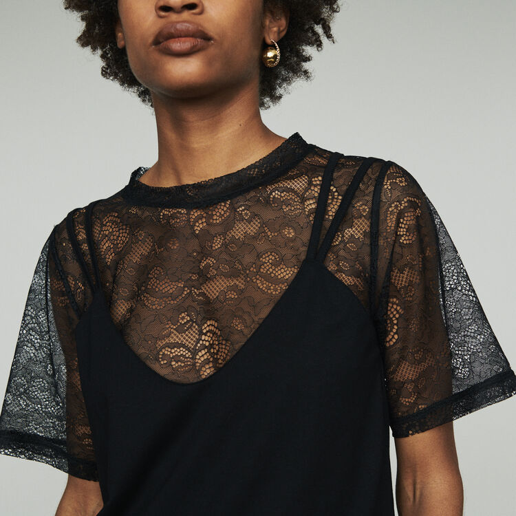 95b7979ee7c Layered top with lace : Tops & T-Shirts color Black 210