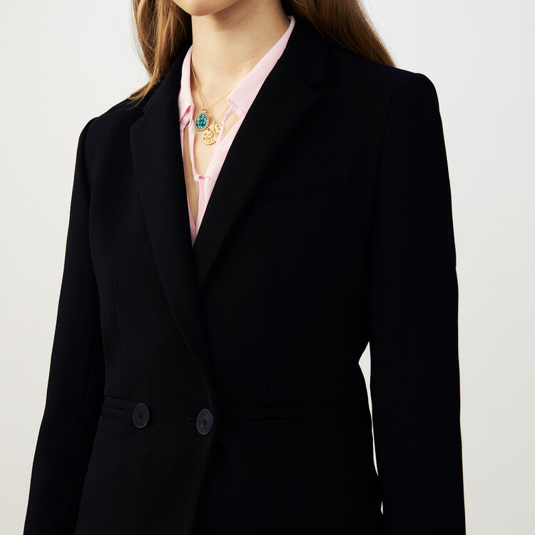 Suit-style cropped vest : Coats & Jackets color Black 210