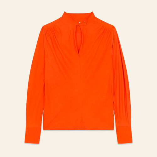 Flowing top with stand-up collar : Tops & T-Shirts color Orange