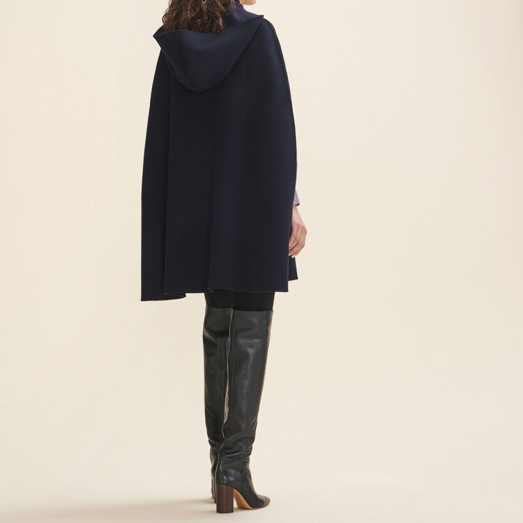 Double-sided wool cape : Coats & Jackets color Navy