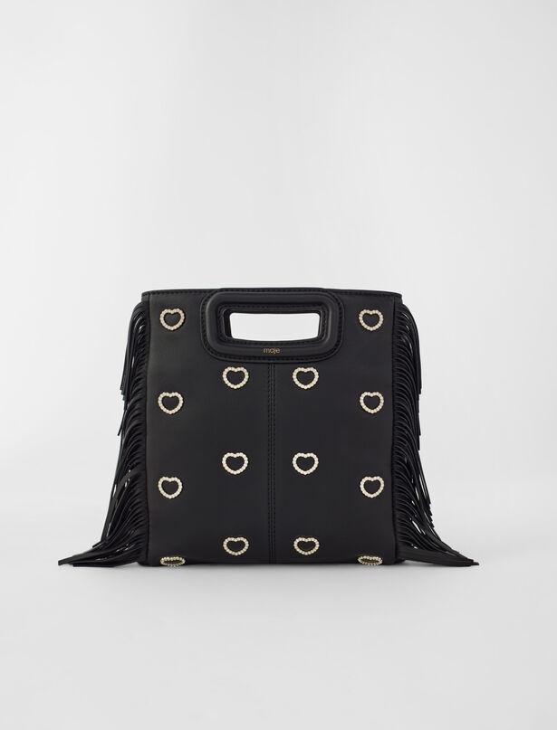 마쥬 MAJE Leather M bag with rhinestone heart,Black