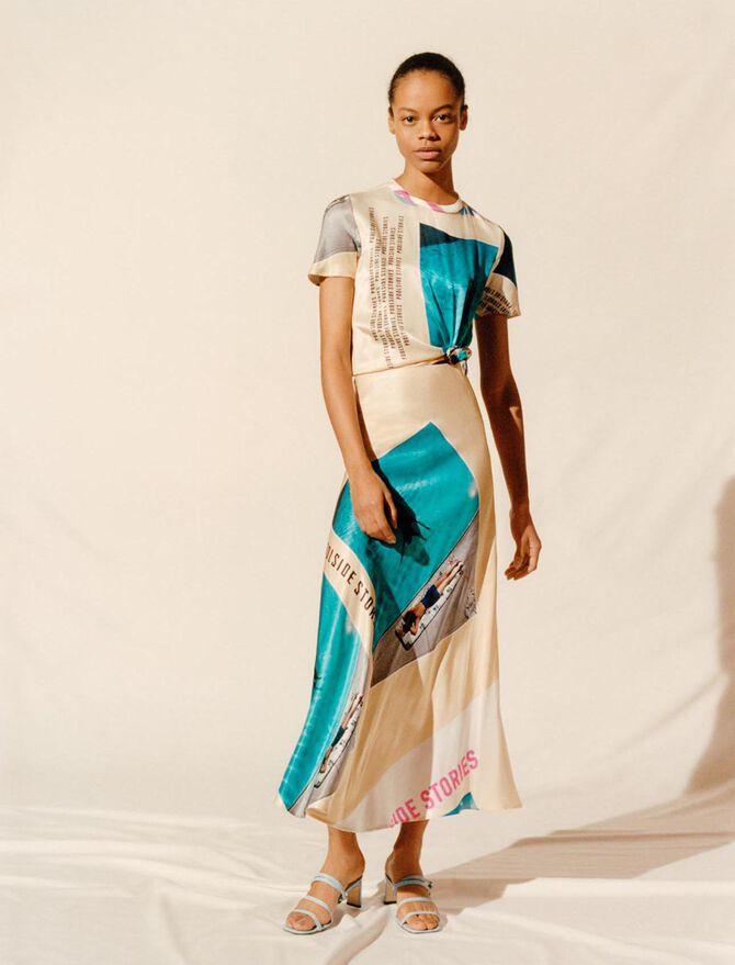 Printed satin tied scarf dress - Dresses - MAJE
