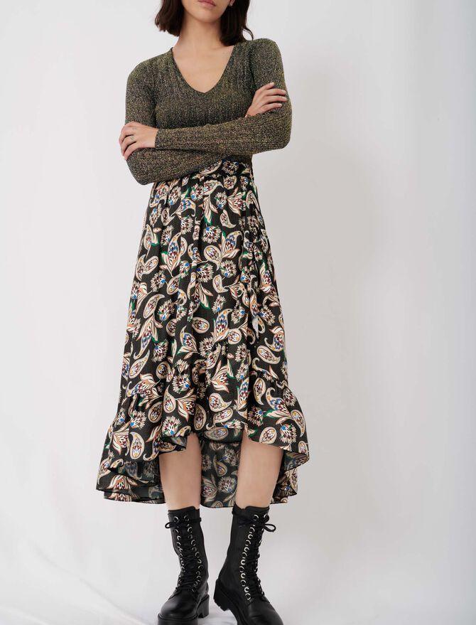 Long printed skirt with ruffles - Skirts & Shorts - MAJE