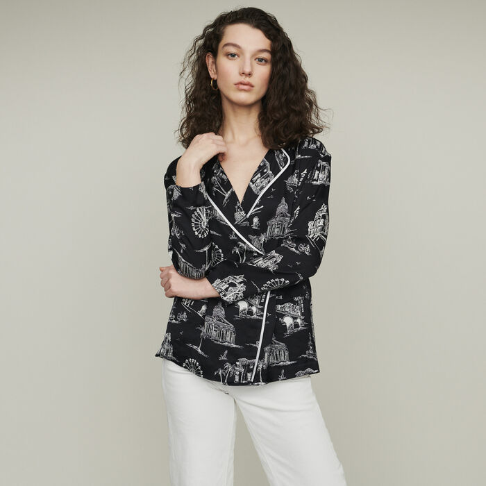 Shirt with Paris print : Tops & T-Shirts color Black