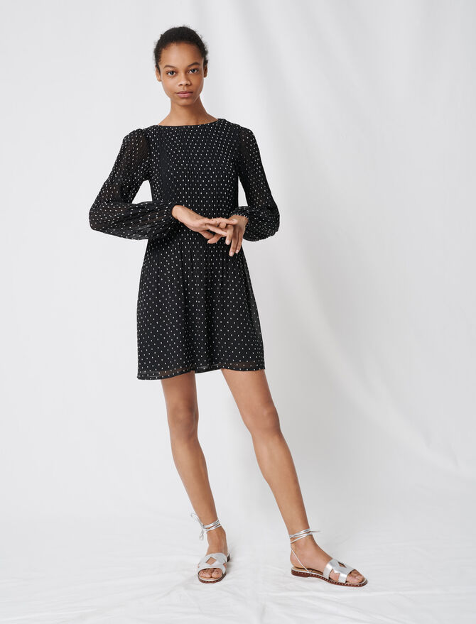 Pleated and embroidered dress - The Essentials - MAJE
