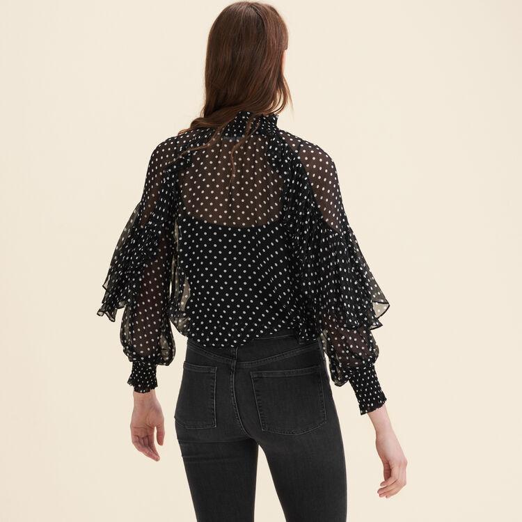 Floaty polka-dot top : Tops & Shirts color Black 210