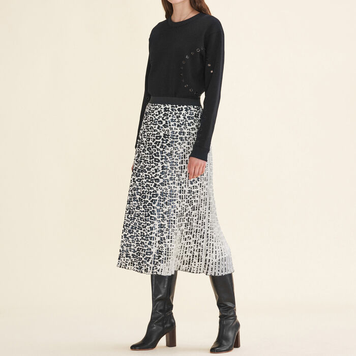 Leopard-print pleated skirt -  - MAJE
