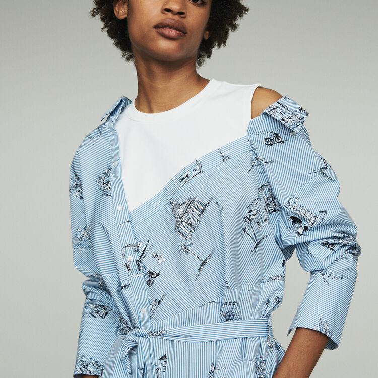 Printed shirt dress : Dresses color Blue