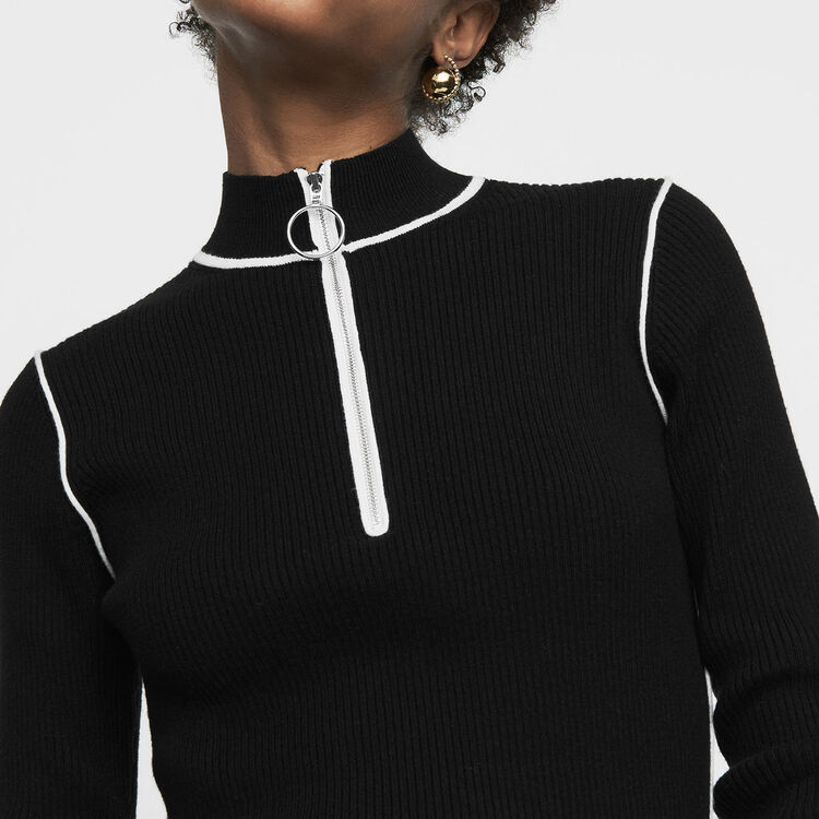 Trucker-collared sweater in fine knit : Sweaters color Black 210