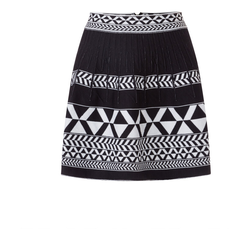 Jacquard knit A-line skirt : null color