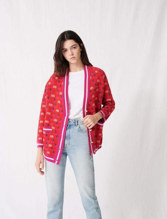 Jacquard cardigan with contrasting motif - Sweaters - MAJE