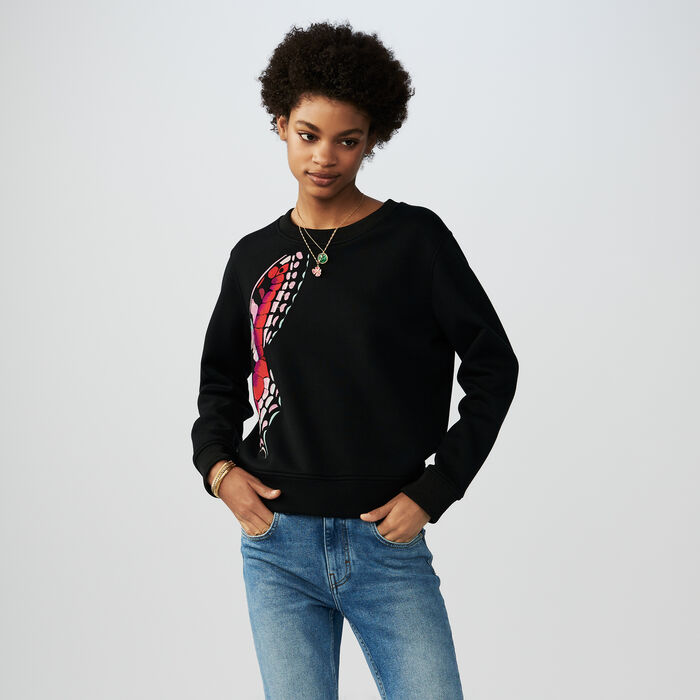 Cotton embroidered sweatshirt : Sweaters color Black 210