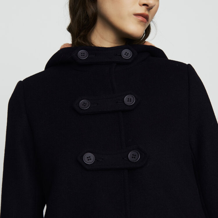 Long coat with faux-fur lined hood : Coats & Jackets color Black 210