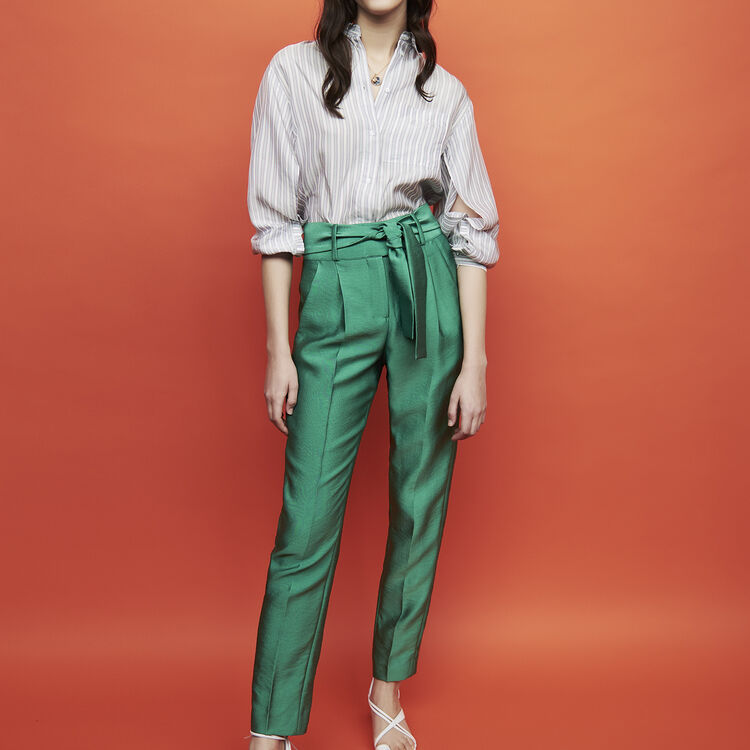 Pleated pants with belt : Pants & Jeans color Pink