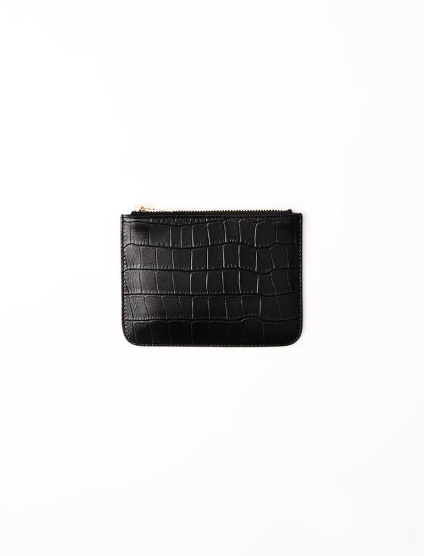 마쥬 MAJE Zipped embossed-leather pouch,Black