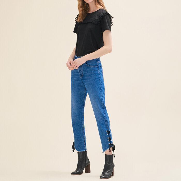 Boyfriend-cut cropped jeans : Pants & Jeans color Blue