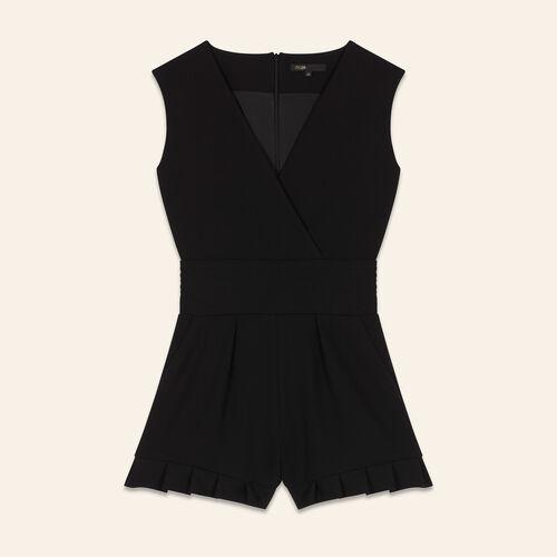 Sleeveless crêpe playsuit : Skirts & Shorts color Black 210