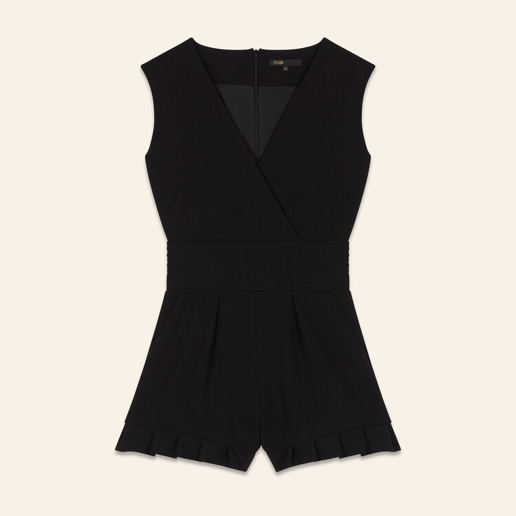 Sleeveless crêpe playsuit : Skirts & Shorts color Black 210