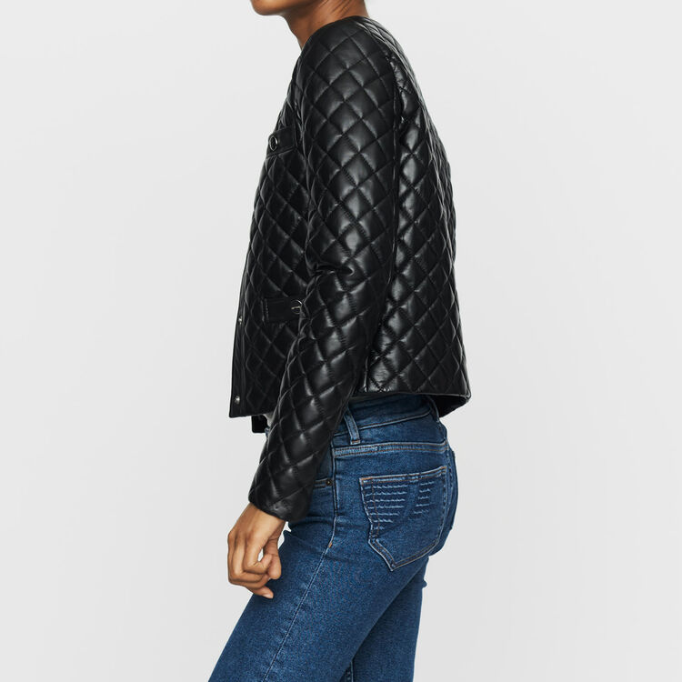 Quilted leather jacket : Coats & Jackets color BLACK