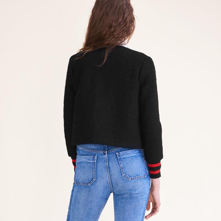 Tweed cropped jacket : Coats & Jackets color Black 210