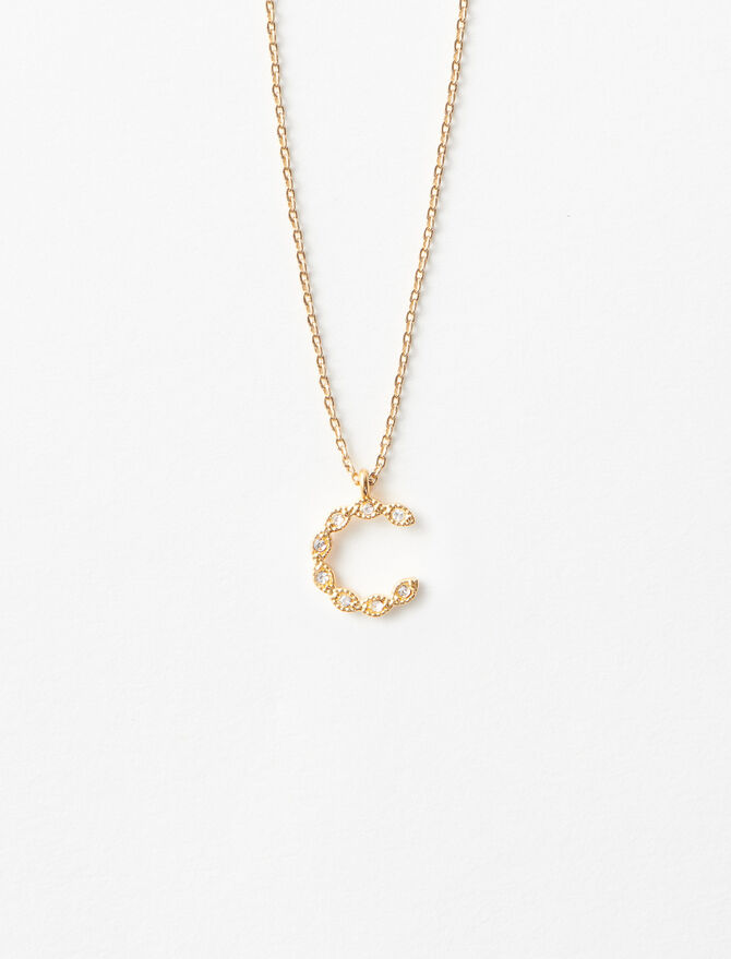 Rhinestone C necklace -  - MAJE