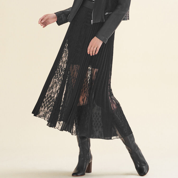Pleated skirt with lace : Skirts & Shorts color Black 210