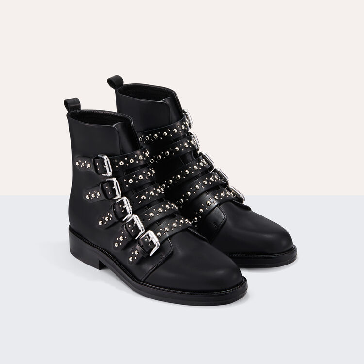 Leather ankle boots with studs : Shoes & Accessories color Black 210