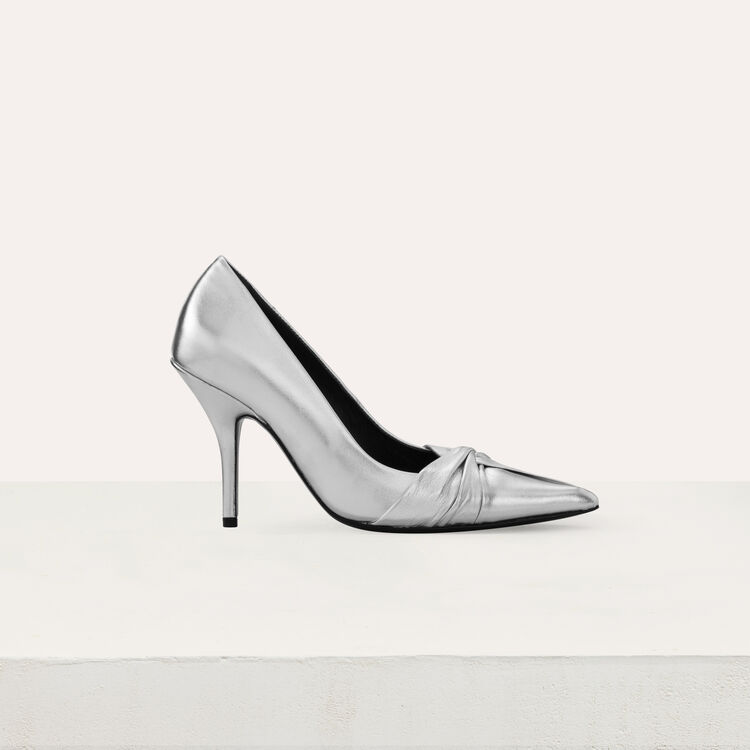 Draped pumps in silver leather : Shoes & Accessories color Silver
