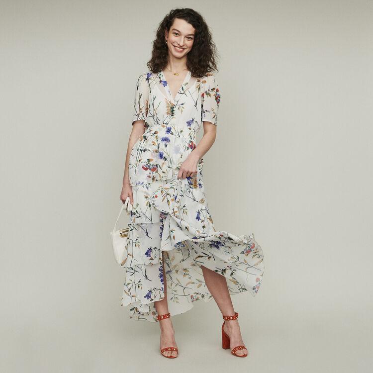 Floral maxi dress with ruffles : Dresses color BLACK