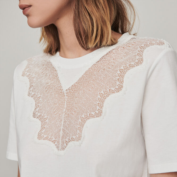 Tee shirt with lace trim : Tops & T-Shirts color White