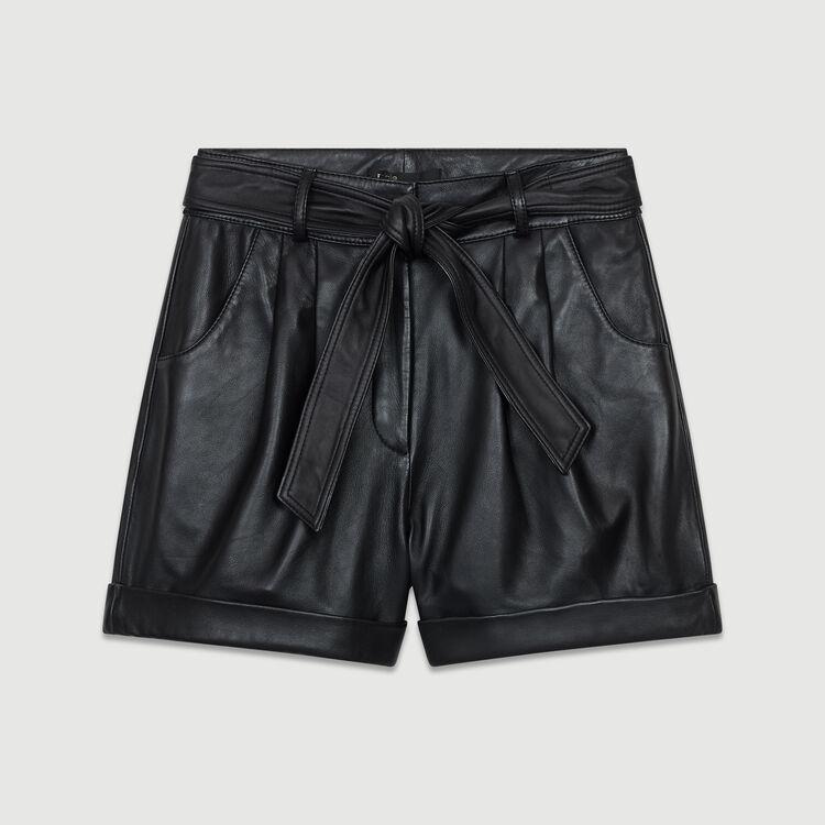 Oversized leather shorts : Skirts & Shorts color Black 210