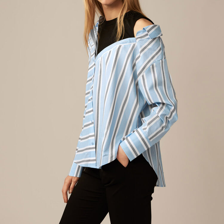 Deconstructed shirt in striped poplin : Tops & Shirts color Blue Sky