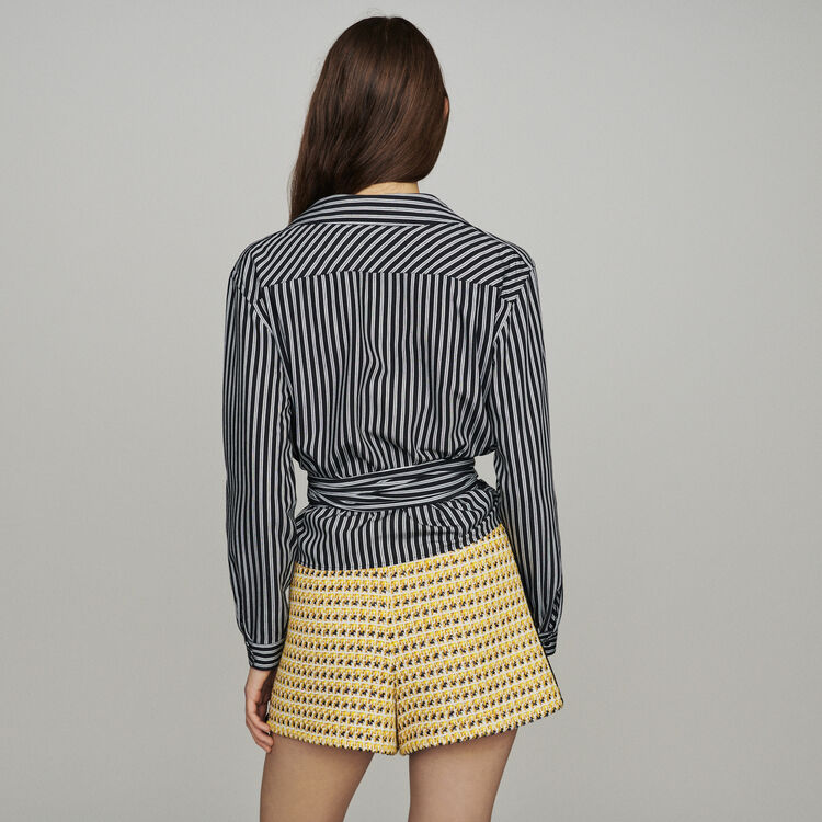 Wrap V-neck top with stripes : Tops & T-Shirts color Stripe