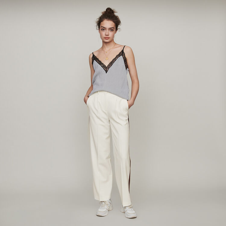 Striped camisole with lace trim : Tops & T-Shirts color White / Black