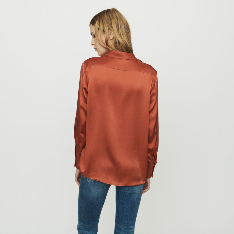 Draped silk blouse : null color Terracota