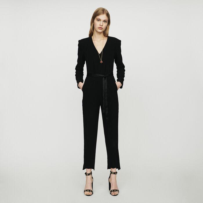 Crepe jumpsuit : Jumpsuits & Rompers color Black 210